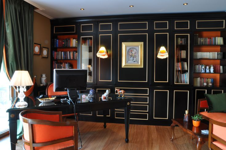 One of my beloved projects ❤ Feng Shui Home Office #elenaarsenoglou #beyonddecoration #fengshui #interiors #homeoffice #boiserie #luxyry #bookcase #books #writer #vitro #sconce #unique