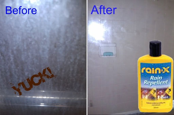 CLEANING | SHOWER :: Rain-X?? Brilliant!! 6+ months of soap-scum-free shower doors! Don't use it on the floors though as they might become slippery...but I'm going to try this on tile and see if it works!