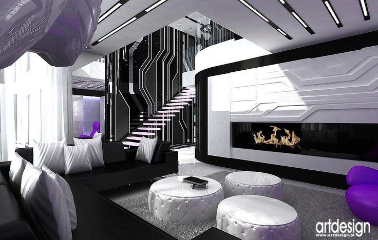 Luksusowe wnętrze domu. Projekt salonu, jadalni, kuchni.
