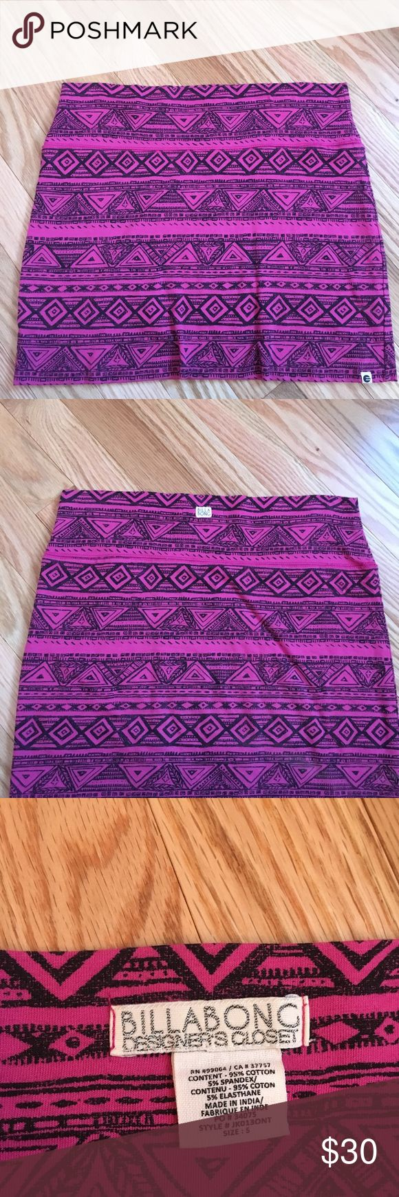Billabong Tribal print mini skirt worn once!!! in great condition, pink and black tribal pattern, billabong Billabong Skirts Mini