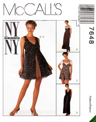 McCall's 7648 Slinky Slip Dress, Romper & Overdress 1995