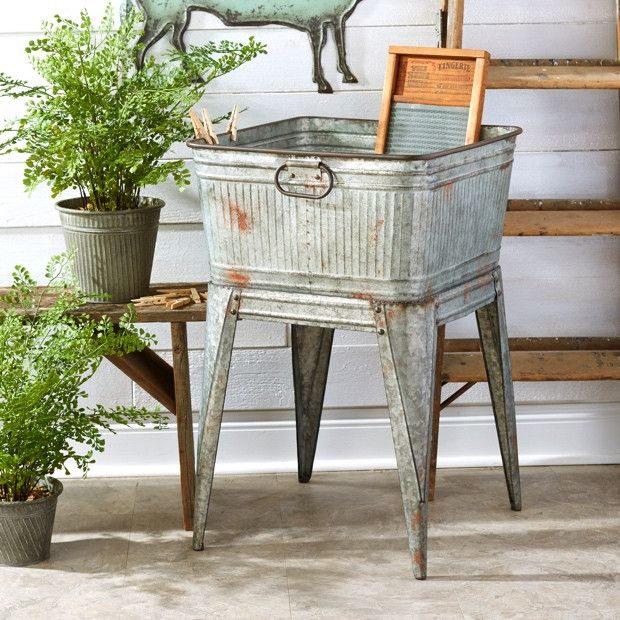 Vintage Metal Wash Tub Vintage Wash Stand Vintage Wash Tub Decor Rustic Metal Wash Tub Rustic Wash Metal Wash Tub Farmhouse Style Decorating Wash Tubs