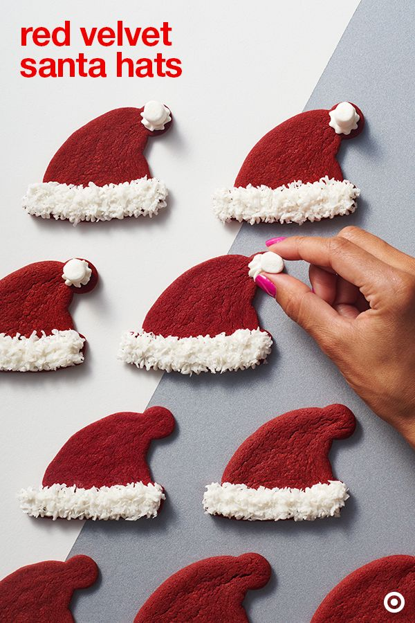 Ho! Ho! Ho! Santa is coming for his hat. Try this recipe and put it on a plate with a glass of milk or serve at a holiday party. Decorating these cookies is an easy DIY Christmas project for kids.: