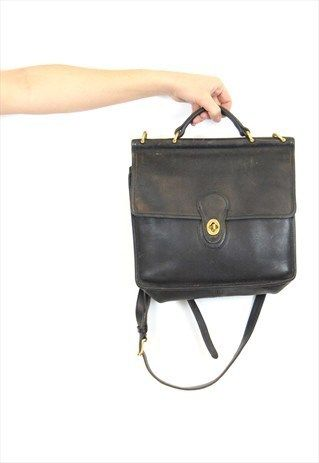 Vintage+COACH+Messenger+Bag+UNisex.+Black+Leather.+BGL192