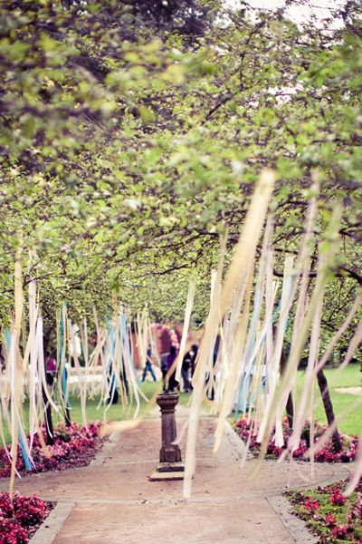 streamers line the tree-lined walk