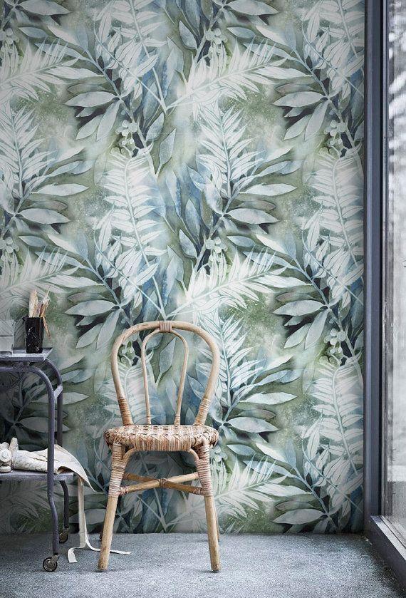 Watercolor painted Leaves Mural Self Adhesive Removable Wallpaper