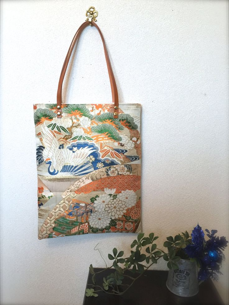 Obi / Kimono / Bag / GD809 Very Traditional Pattern Obi Tote Bag With Leather Handles by RummyHandmade on Etsy
