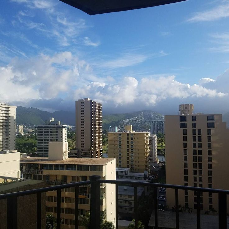 The view from this morning's office! No filter needed for Honolulu's beauty!  Working remote on some digital projects while here working on some physical ones!  #travel #todaysoffice #workremote #cloudy #beautiful #hawaii #honolulu #worktrip #hilton #hotel #balcony #roomwithaview #digitalnomad #amazing #happy #hardworkpaysoff #hustle #digital