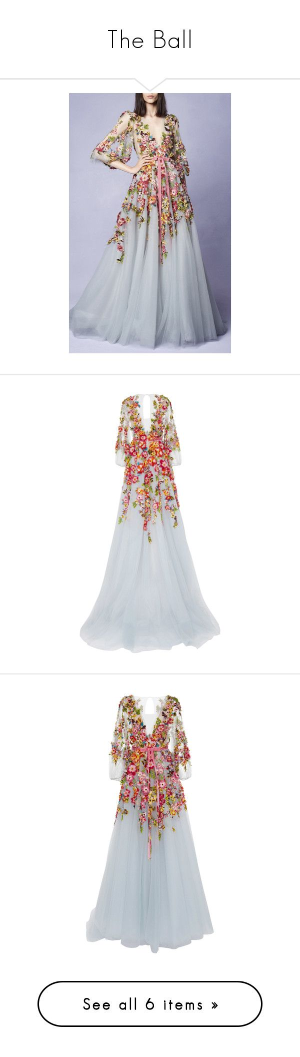 """""""The Ball"""" by suellenborinhoran ❤ liked on Polyvore featuring dresses, gowns, plunging v neck dress, silk gown, embroidered dress, peasant dress, a line dress, gown, marchesa and silk evening gowns"""