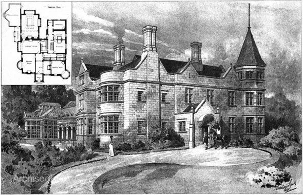 1902 – Norwood, Huddersfield, Yorkshire  Architect: J. Hatchard Smith  Front Perspective View including plans published in The Building News, September 12th 1902.  0002