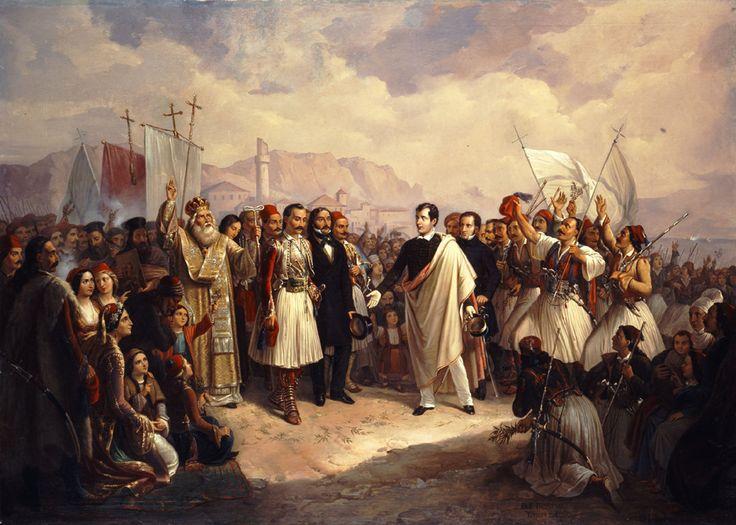 """Βρυζάκης Θεόδωρος (1819 - 1878)  """"Η υποδοχή του Λόρδου Βύρωνα στο Μεσολόγγι"""", 1861. Λάδι σε μουσαμά.  Συλλογή Εθνικής Πινακοθήκης.  Vryzakis Theodoros (1819 - 1878)  """"The Reception of Lord Byron at Missolonghi"""", 1861. Oil on canvas. National Gallery collection"""