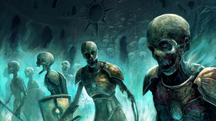 1366x768 Wallpaper zombies, skeletons, magic, army, skull