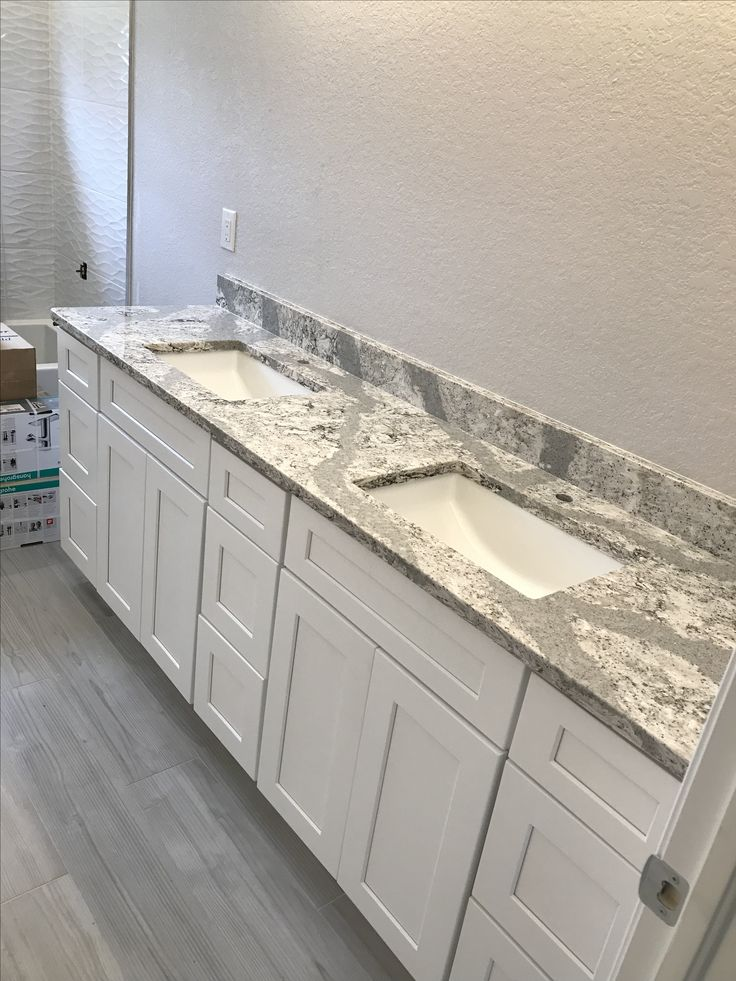 Cambria Summerhill With Frosted White Shaker Bathroom