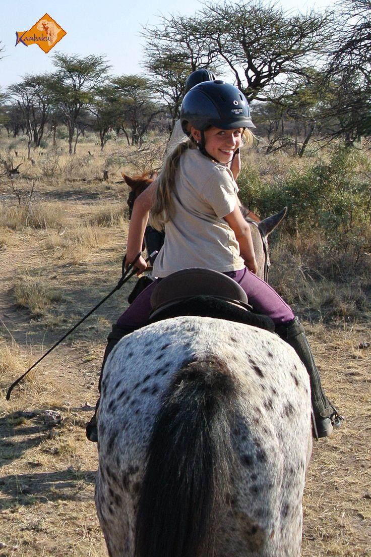 Auf Kambaku können auch junge Pferde Narren eine Reitsafari in Afrika erleben ..//.. Even the younger horse enthusiasts will enjoy fantastic horse safaris at Kambaku in Africa    #horsesafari #safarionhorseback #reitsafaris #horses #kambaku #lodge #namibia #africa #afrika #safari #bestlodge #adventure #savanna #holiday #rider