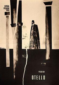 Zbigniew Kaja - OTELLO-OPERA-POZNAN-1962 poster art from Poland