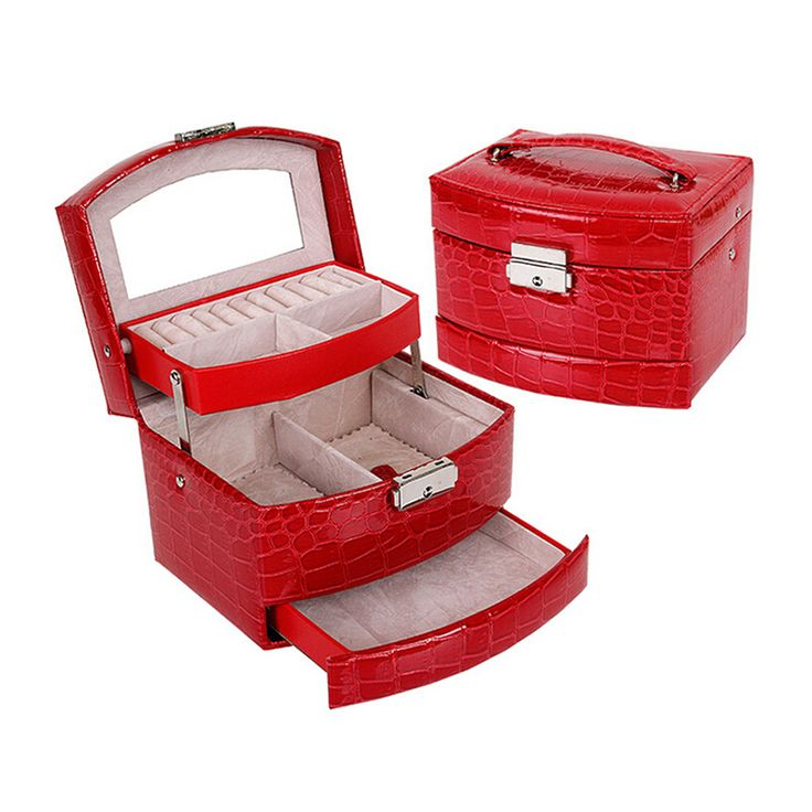 High Grade Jewelry Display Box 3 Layers Ring Necklace Jewelry Carrying Case Crocodile Print Lady Gift Home Storage Supplies