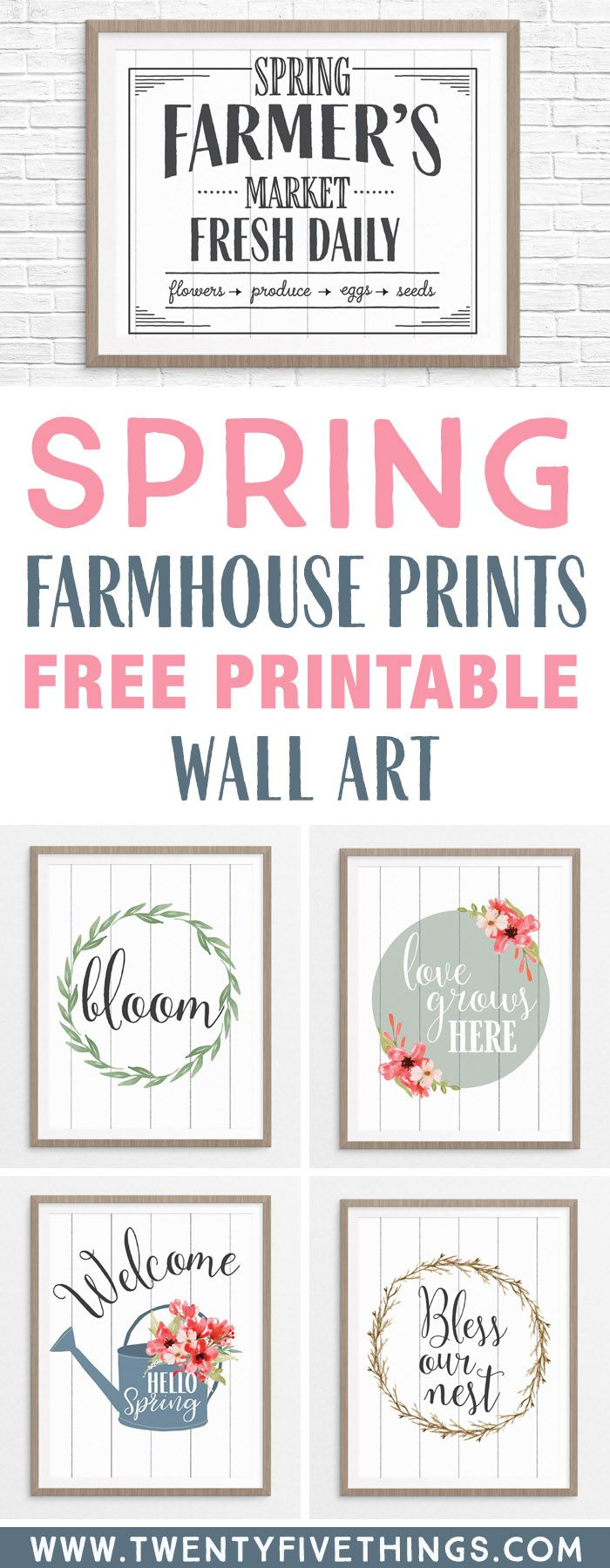 I can't wait to print these free printable Spring Wall Art farmhouse style prints for my home. My walls need a new Spring makeover! My favorite is the Hello Spring watering can print.