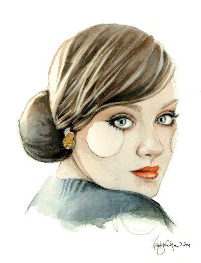 """Adele"" portrait illustration by Katie Rodgers"
