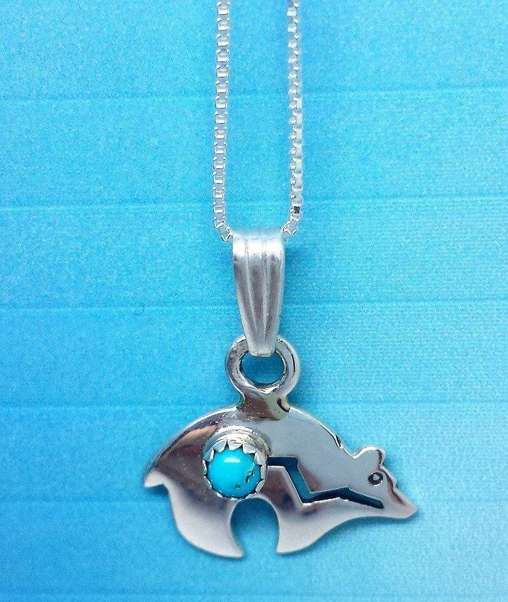 16 inch Stirling silver Zuni bear necklace with Turquoise stone,