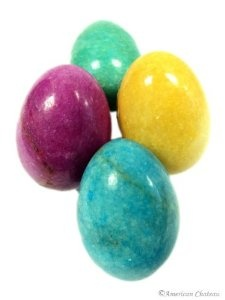 Set of 4 Marble Easter Eggs - Decorating a Garden for Easter and Spring