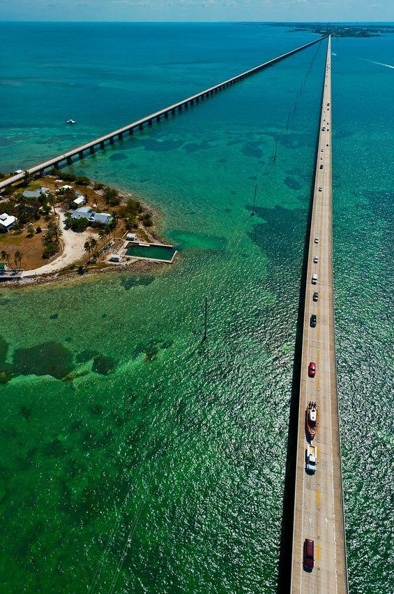 Aerial View of the Seven Mile Bridge, Florida Keys, Florida USA: Aerialview