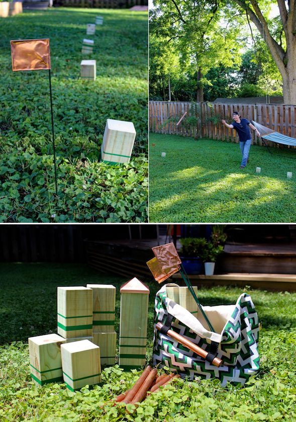 Kubb is a fun outdoor game that's been called a combination of bowling and chess. It's also a great game for a DIY project. Click through for a Kubb game set tutorial by Mandy Pellegrin of Fabric, Paper, Glue... on The Home Depot Blog.    @fabricpaperglue