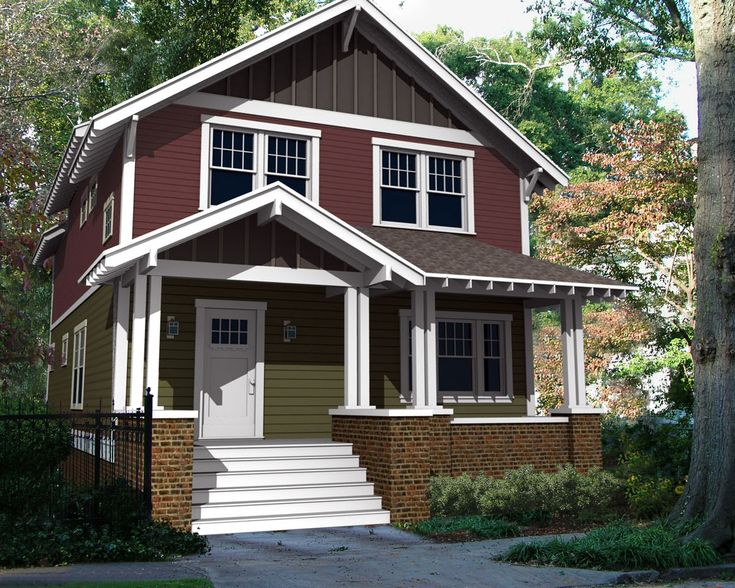 a classic two story arts and crafts home plan could be retrofitted with a foursquare look. Black Bedroom Furniture Sets. Home Design Ideas