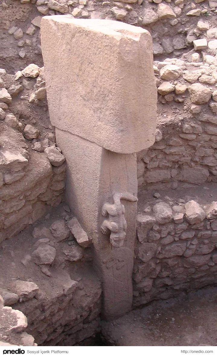 7. Arkeologlar boyları 3 ile 6 metre arasında değişen T biçimindeki sütunların stilize edilmiş insan figürleri olduklarını düşünüyorlar. Sütunlar üzerine yansıtılan diğer figürlerden farklı olarak aşağı doğru iner şekilde tasvir edilen 3 boyutlu aslan kabartması dikkat çekiyor. Bu ve diğer aslan figürleri neolitik dönemde aslanların Anadolu'da yaşamış olma ihtimalini güçlendiriyor. İnsanları temsil eden T sütunlarının ağırlıkları 40 ile 60 ton arasında değişiyor.