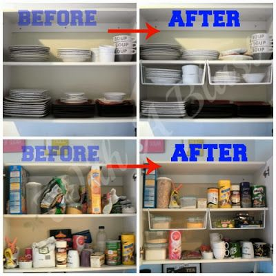 Kitchen Cabinets Organized with Under Shelf Wire Racks which you hook over a shelf and gain loads of space!