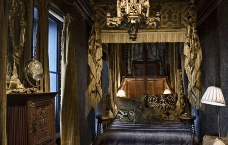 Bedroom Medieval Gothic Bedroom Decor Gothic Bedroom Decor With Gold Canopy Fabric With Fringe And Chandelier And Dark Wallpaper And Vanity Pinterest