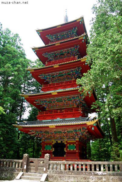 The Five Storied Pagoda on the left of Ishidorii (Stone Gate) at Toshougu Shrine, Nikko, Japan