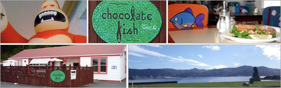 Chocolate fish cafe, Shelly Bay Wellington on the Mirimar peninsula.