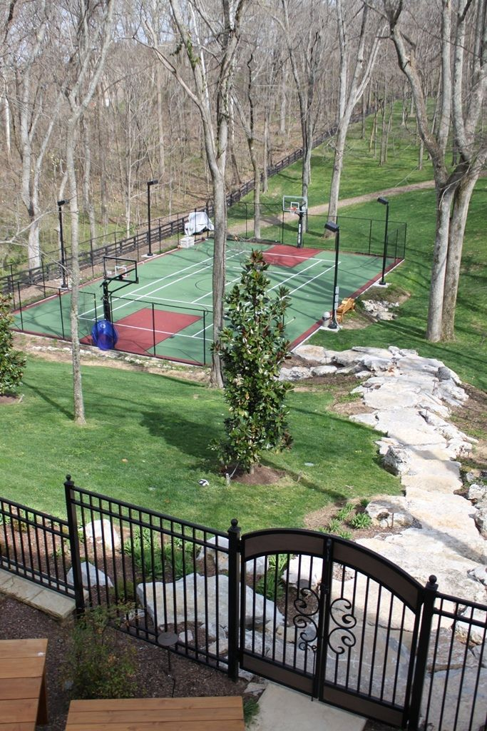 25 best sport courts concrete images on pinterest for Home basketball court cost