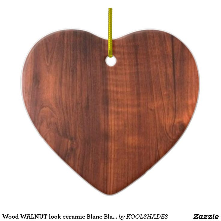 Wood WALNUT look ceramic Blanc Blanche + TEXT Double-Sided Heart Ceramic Christmas Ornament