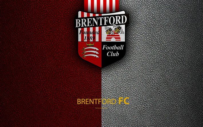Download wallpapers Brentford FC, 4K, English Football Club, logo, Football League Championship, leather texture, Hounslow, London, UK, EFL, football, Second English Division
