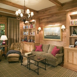 pecky cypress paneling -lovely and cozy