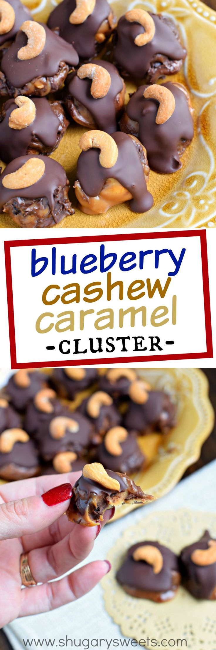 Sweet and salty, these no bake Blueberry Cashew Caramel Clusters with DOVE Chocolate are going to be your new, go-to summer treat! The buttery smooth caramel with the chocolate covered Blueberries are amazing. The crunch of cashews gives this treat the perfect texture! @DoveChocBrand #sponsored