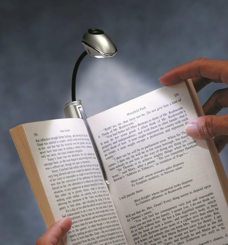 Unique stylus booklight, with a powerful LED light and clever design to illuminate your book.