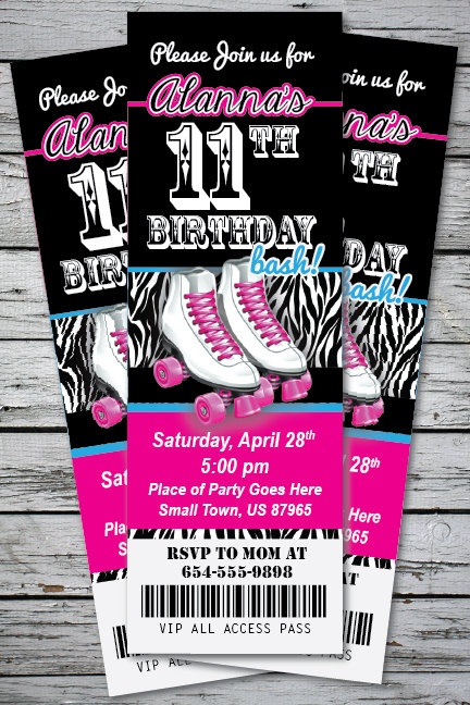 Roller Skating Zebra Print Birthday Party Invitation TICKET Stub Any Age or Color Girl - You Print