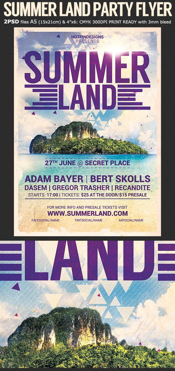 Summer Land Party Flyer Template Is Very Modern Psd That Will Give The Perfect Promotion For Your Upcoming Outdoor Event Or Nightclub
