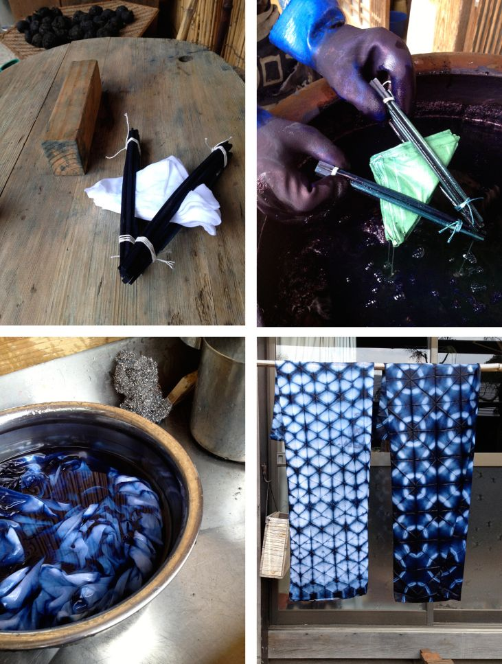 """Marina Kappos in Fujino: """"Bryan introduces me to the indigo dye by showing me different ways to fold fabric and bind it. This process is called Shibori. I fold the fabric into triangles, as he instructs, and dip it into the dye ten times. The indigo is a greenish hue and turns blue as it oxidizes. The fabric is rinsed and I've created my first Shibori patterns!"""" marinasjland.wordpress.com"""