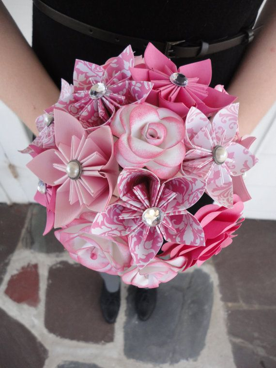 Pink Paper Flower Bridesmaid Bouquet - Roses Kusudama Origami Wedding    Pinks the Thing in this bouquet. Pink roses, pink origami flowers. Hot pink,