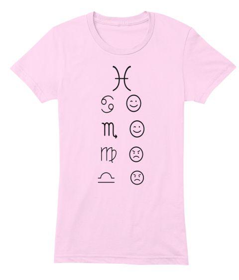 Pisces Love Tees Light Light Pink T-Shirt Front