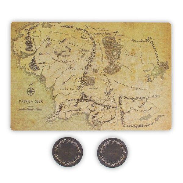 Kit Jogo Americano e Porta Copos Mapa