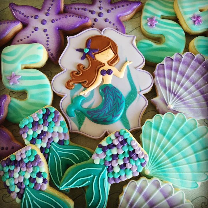 The Little Mermaid under the sea decorated iced sugar cookies / biscuits - mermaid tail, seashell, starfish.