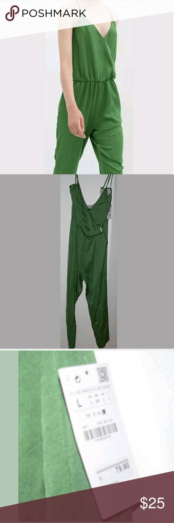 "NWT ZARA Long Jumpsuit Brand new with tags attached. Bright green. Spaghetti Strap Lined Bodice Polyester Jumpsuit.  Armpit to armpit 21 1/2""  Sleeves NA Waist 33"" - 44"" Length 50"" Underarm to hem  Pant Hem circumference 16""  Zara Pants Jumpsuits & Rompers"