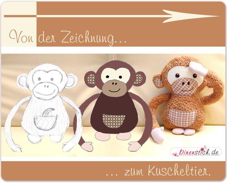 Anleitung zum Affe nähen: Von der Zeichnung zum Kuscheltier | binenstich.de