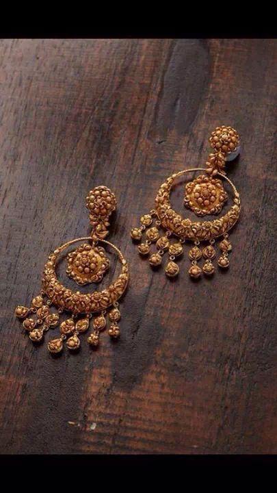 Gold chandbalis. Indian jewellery fashion.