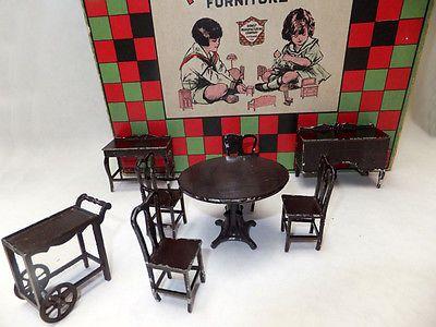 Tootsietoy-antique-metal-dollhouse-furniture-with-original-box-lids