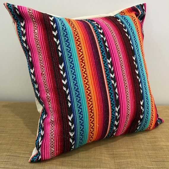 """18/"""" Made Australia PINK//RED//BLUE//GOLD Mexican Fabric Cushion Cover 45cm"""